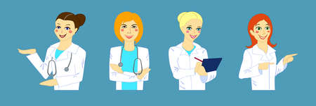 Vector illustration, set of girls doctors isolated Vectores