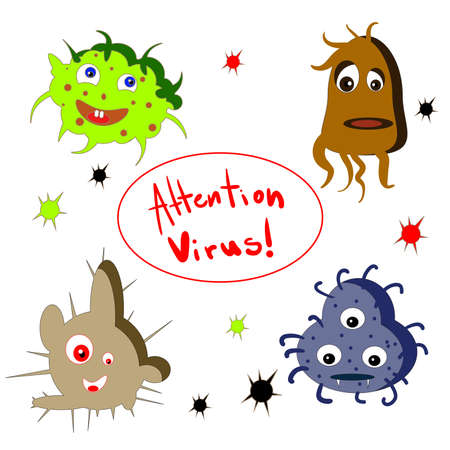 Cartoon virus character vector illustration on white background. Ilustração