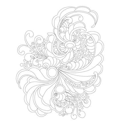 abstart Floral ornament pattern silhouette vector illustration on the white background Vectores