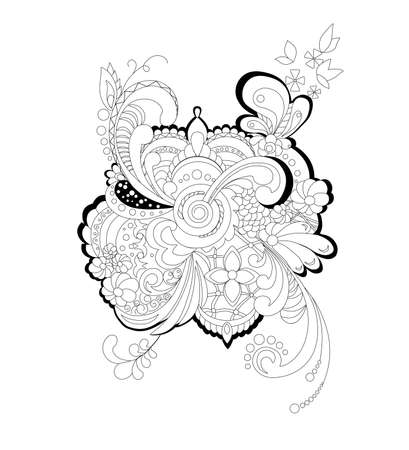 abstart Floral ornament pattern silhouette vector illustration