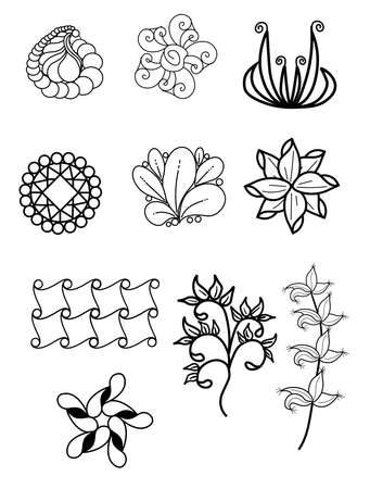 Ornamental flowers. Vector set with abstract floral elements