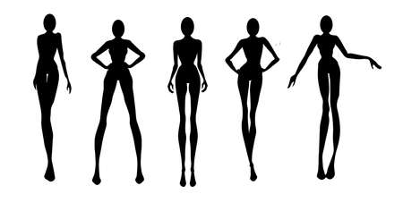 Woman silhouette set, models, vector, fashion illustration
