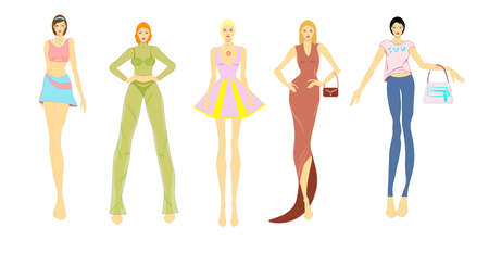 Vector fashion illustrations of group of model women, wearing trendy clothes. 向量圖像