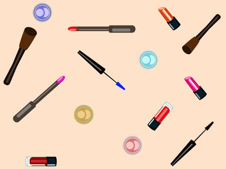 Vector texture with lipstick, eyeshadows and maskara, for cover and fabrics Ilustração