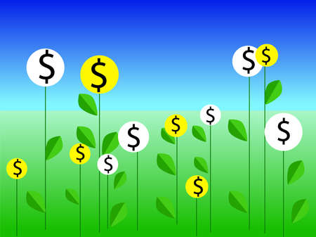 Money plants line icon, finance and business, start up and economic growth vector graphics