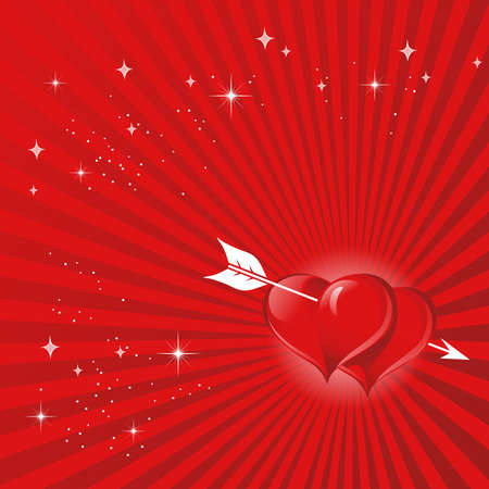 Two-color red background with hearts piercing their arrow