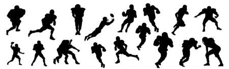 A selection of American football players on a white background - Vector illustration Illustration