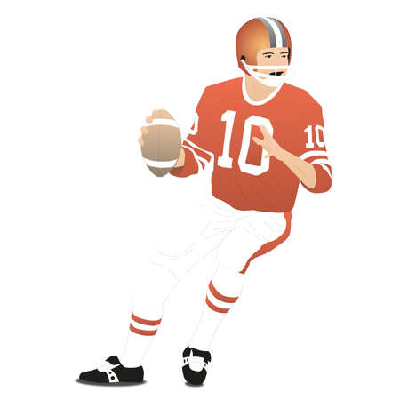 American football player on a white background - Vector illustration Illustration