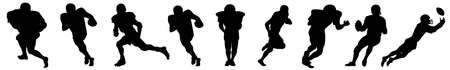 A selection of American football players on a white background - Vector illustration Ilustração