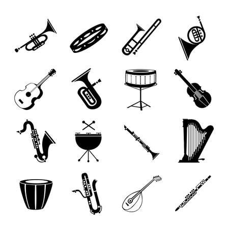 A variety of musical instruments on a white background - Vector illustration Stok Fotoğraf - 148010148