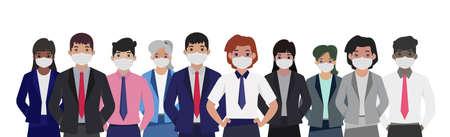 Group of people in sterile medical masks - Vector illustration Ilustración de vector