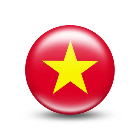 Vietnam country flag in sphere with white shadow - illustration