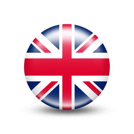 Großbritannien-Landesflagge in der Kugel mit weißem Schatten - Illustration Standard-Bild