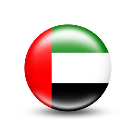 UAE country flag in sphere with white shadow - illustration Imagens