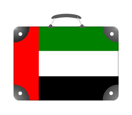 UAE country flag in the form of a travel suitcase on a white background - illustration