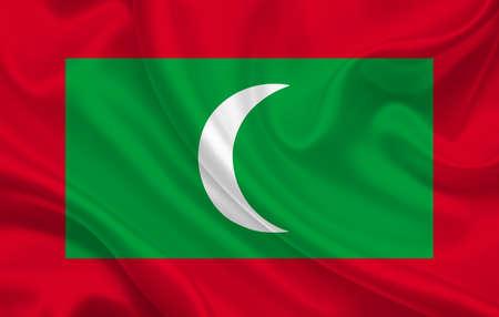 Maldives country flag on wavy silk fabric background panorama - illustration
