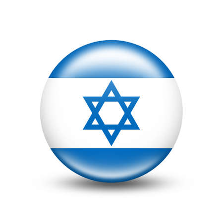 Israel country flag circle with white shadow - illustration Imagens