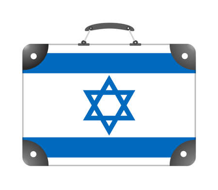 Israel flag in the form of a travel suitcase on a white background - illustration