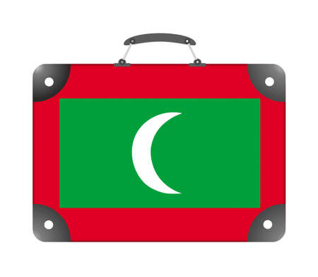 Maldives country flag in the form of a travel suitcase on a white background - illustration Standard-Bild