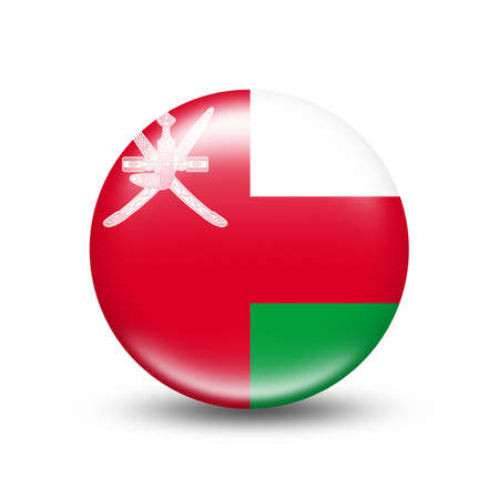 Oman country flag in sphere with white shadow - illustration