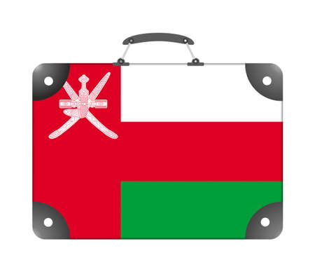 Oman country flag in the form of a travel suitcase on a white background - illustration Imagens