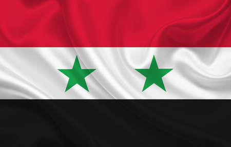 Syria country flag on wavy silk fabric background panorama - illustration