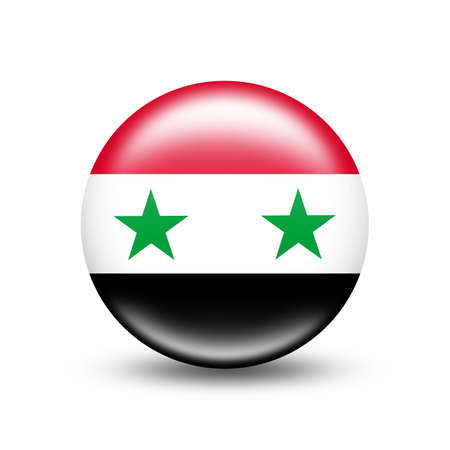 Syria country flag in sphere with white shadow - illustration