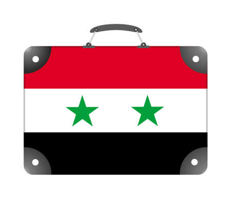 Syria flag in the form of a travel suitcase on a white background - illustration