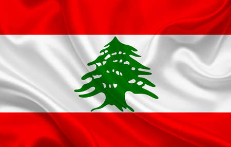 Lebanon country flag on wavy silk fabric background panorama - illustration