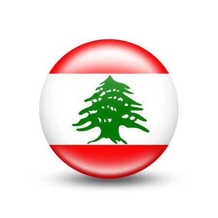 Lebanon country flag in sphere with white shadow - illustration