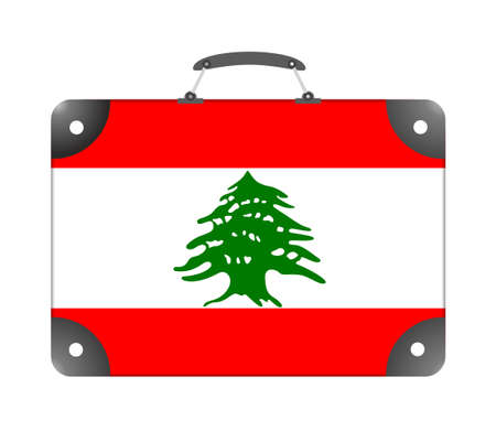 Lebanon country flag in the form of a travel suitcase on a white background - illustration
