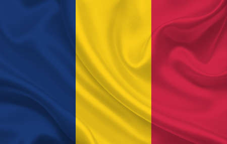 Chad country flag on wavy silk fabric background panorama - illustration