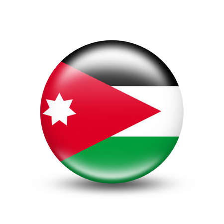 Jordan country flag circle with white shadow - illustration Imagens