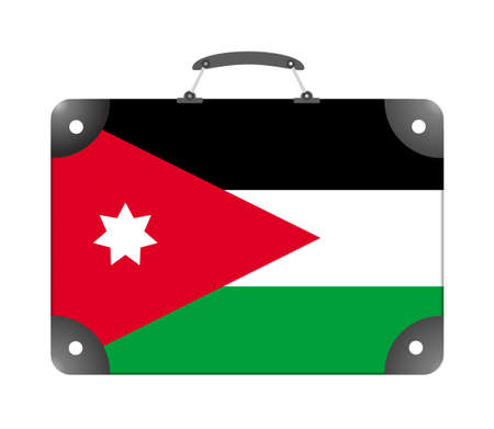 Jordan country flag in the form of a travel suitcase on a white background - illustration