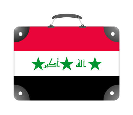Iraq country flag in the form of a travel suitcase on a white background - illustration