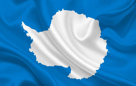 Antarctica country flag on wavy silk fabric background panorama - illustration