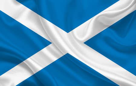 Scotland country flag on wavy silk fabric background panorama - illustration