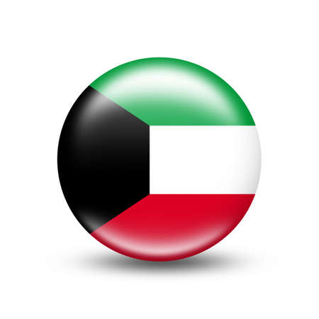 Kuwait country flag in a circle with white shadow - illustration Imagens