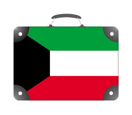 Kuwait country flag in the form of a travel suitcase on a white background - illustration