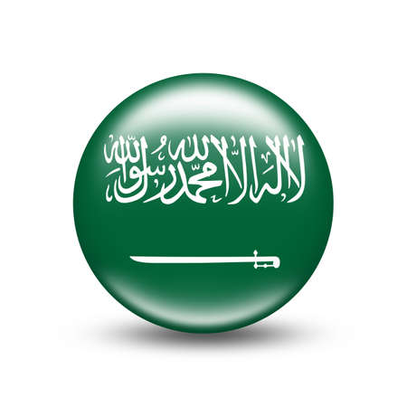 Saudi Arabia country flag in sphere with white shadow - illustration