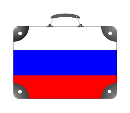Russia flag in the form of a travel suitcase on a white background - illustration Stok Fotoğraf