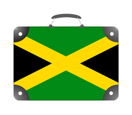 Jamaica country flag in the form of a travel suitcase on a white background - illustration Stock Photo