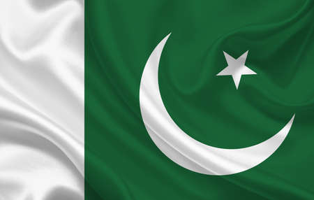 Pakistan country flag on wavy silk fabric background panorama - illustration
