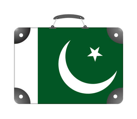 Pakistan country flag in the form of a travel suitcase on a white background - illustration