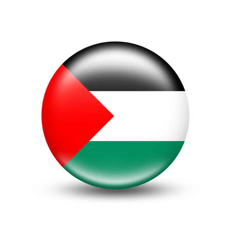 Palestine country flag in sphere with white shadow - illustration