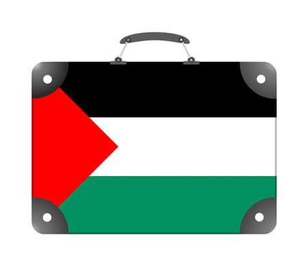 Palestine country flag in the form of a travel suitcase on a white background - illustration Imagens