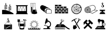 Assembly of 16 icons on an industry theme - Vector illustration
