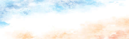 Panoramic texture of realistic multi-colored watercolor on a white background - Vector illustration Illustration