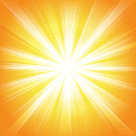 Bright sun on yellow-orange background - Illustration Vecteurs