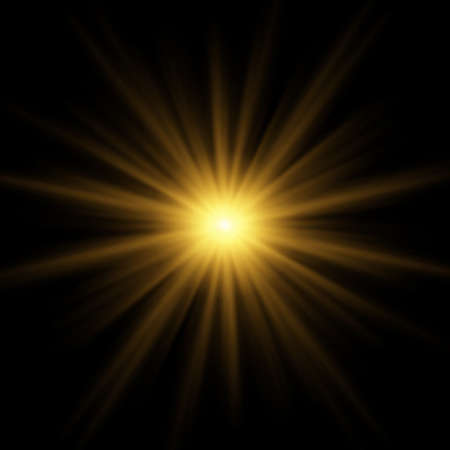 Bright blinding sun on a black background - Illustration Standard-Bild